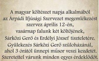 A magyar költészet napja Árpádon